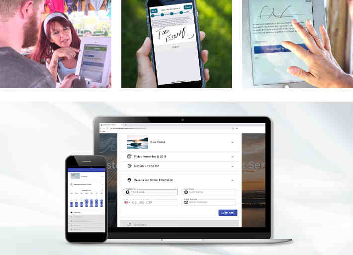 Collage of examples of clients using Indexic booking software on various devices